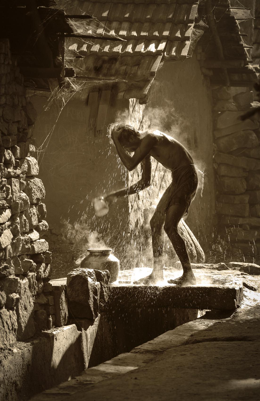 Morning bath, India