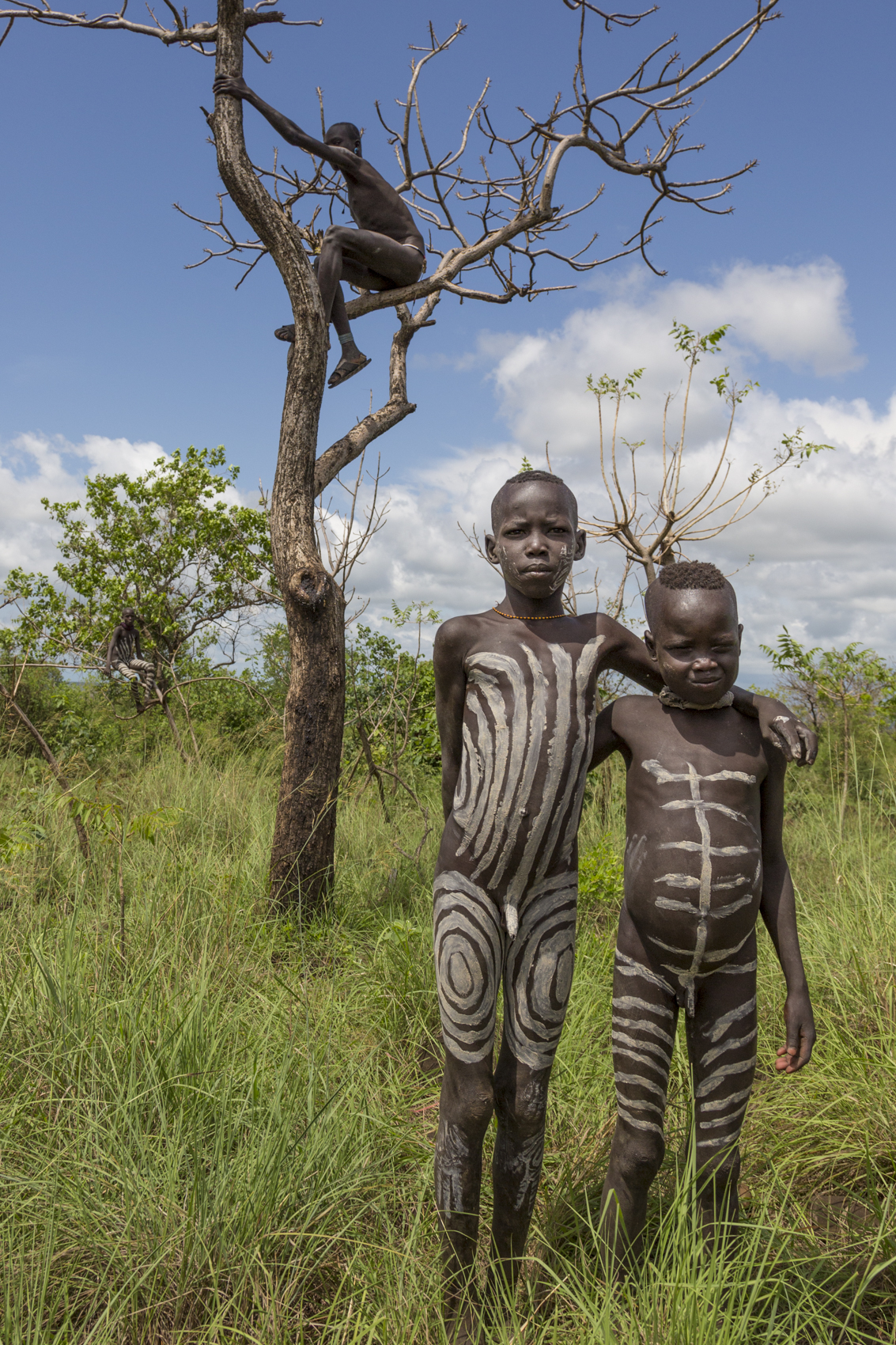 Mursi boys in their body paint