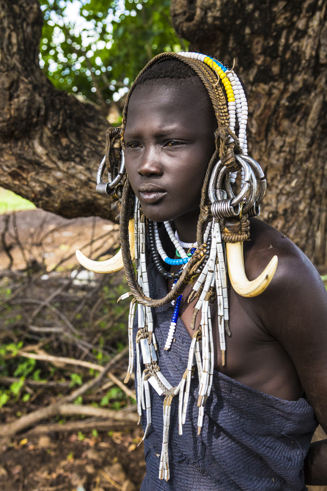Young Mursi woman, Omo Valley
