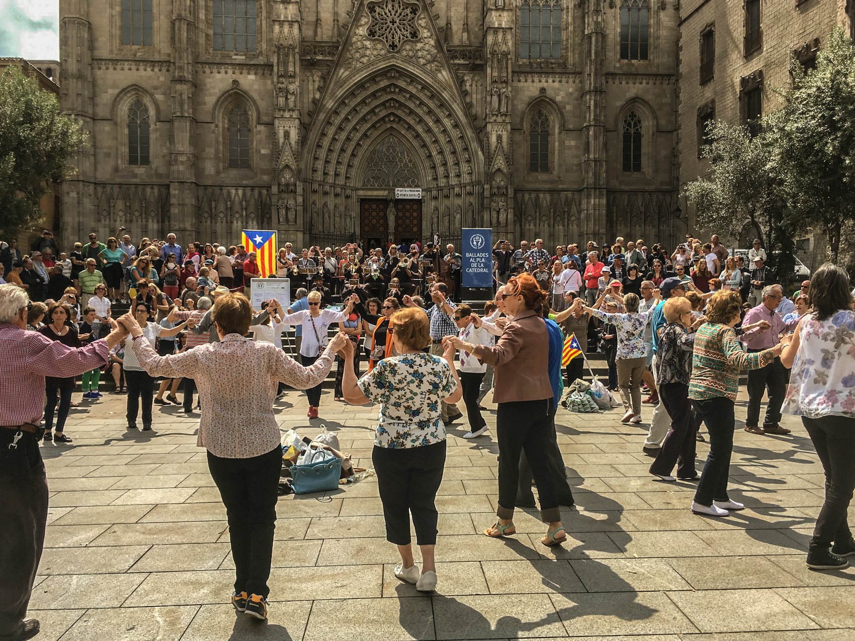 Dancing the Catalan Sardana outside the Cathedral