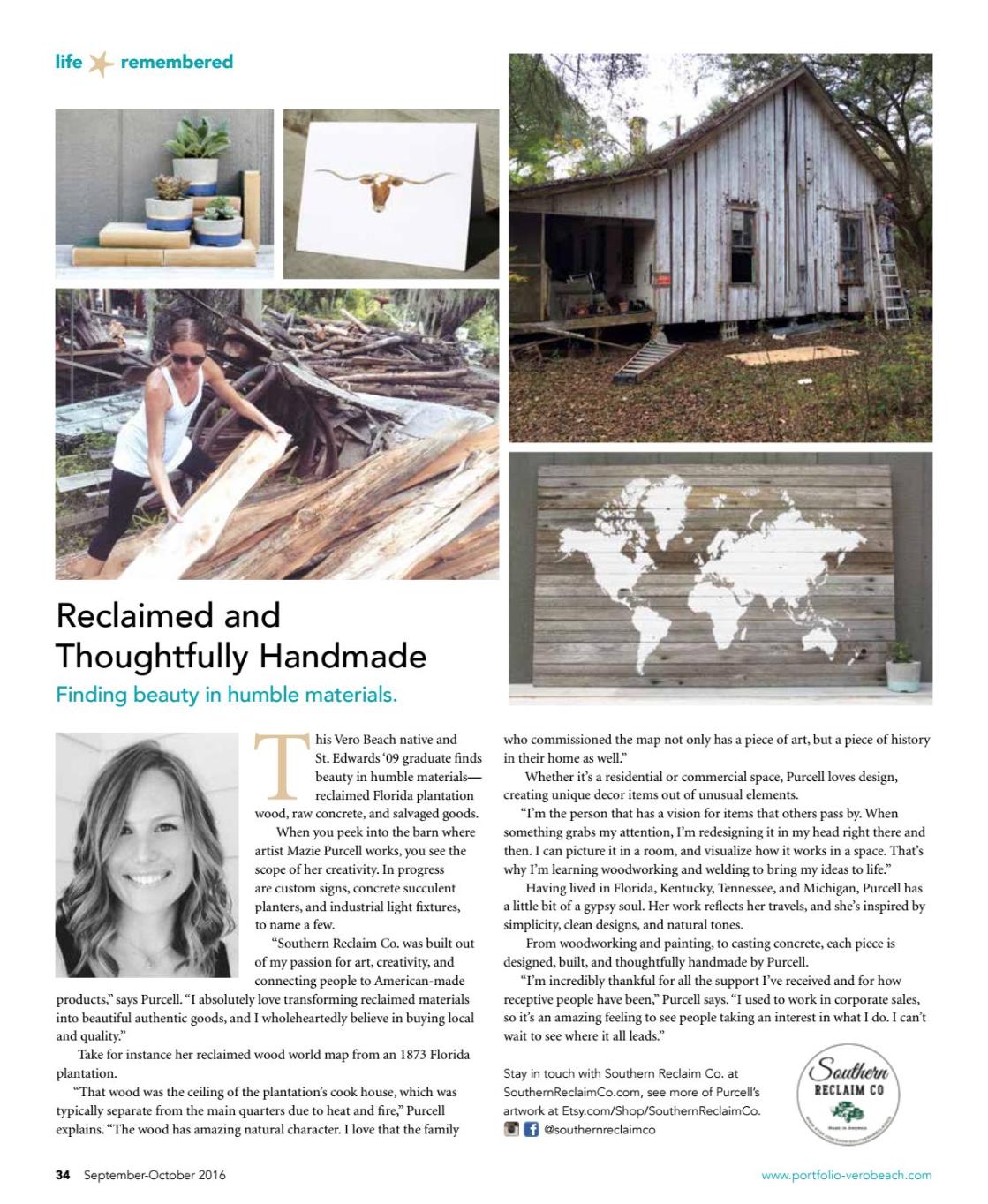 Vero Beach Portfolio Magazine:  Reclaimed and Thoughtfully Handmade