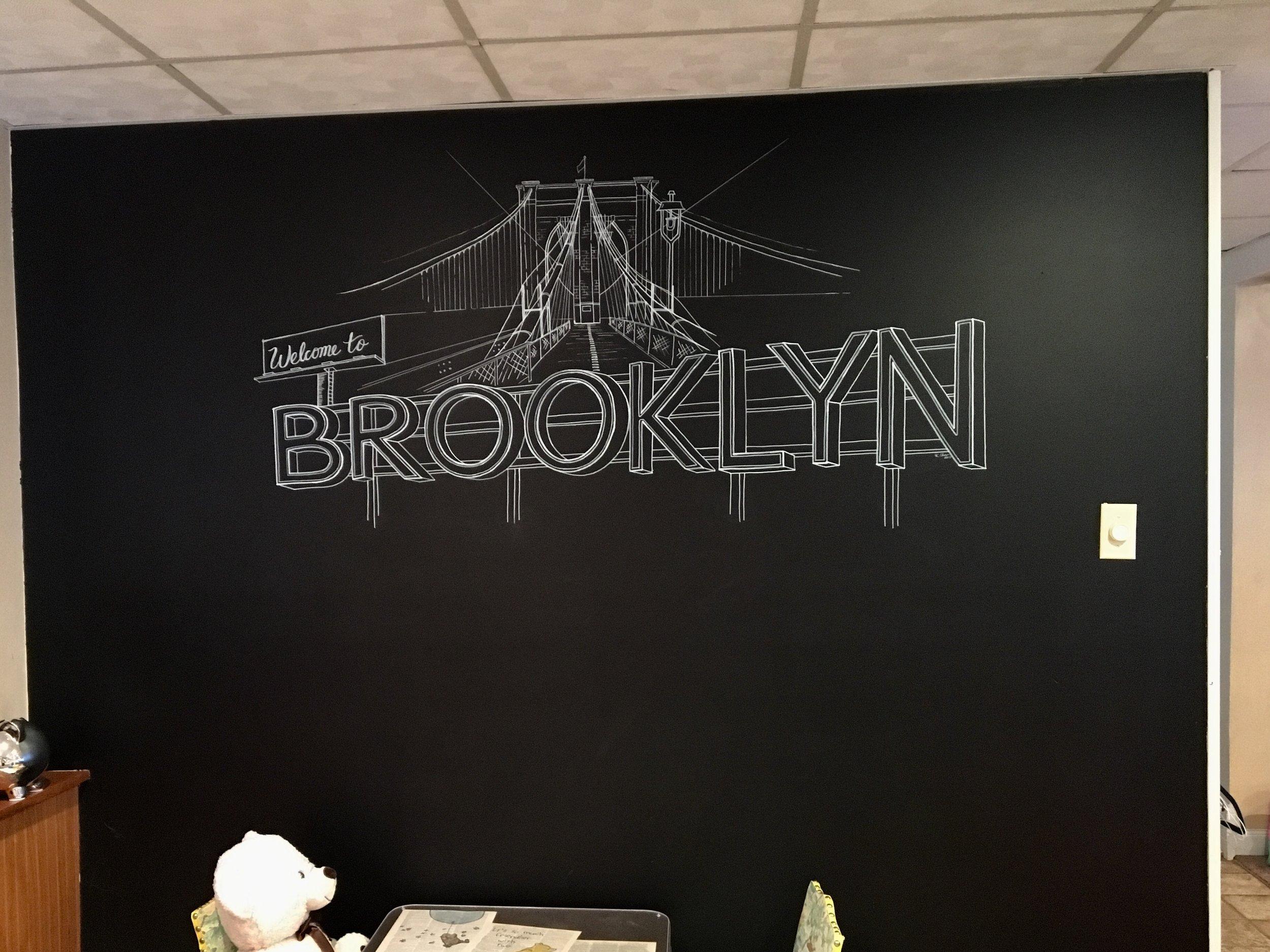 Custom painted chalkboard - Brooklyn Bridge Sketch