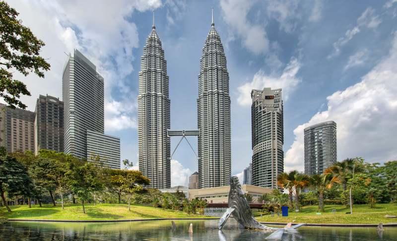 City skyline from KLCC Park in Kuala Lumpur