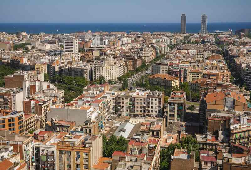 Panoramic view of Barcelona from the top of Sagrada