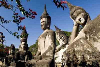 Many Buddha in park near Vientiane