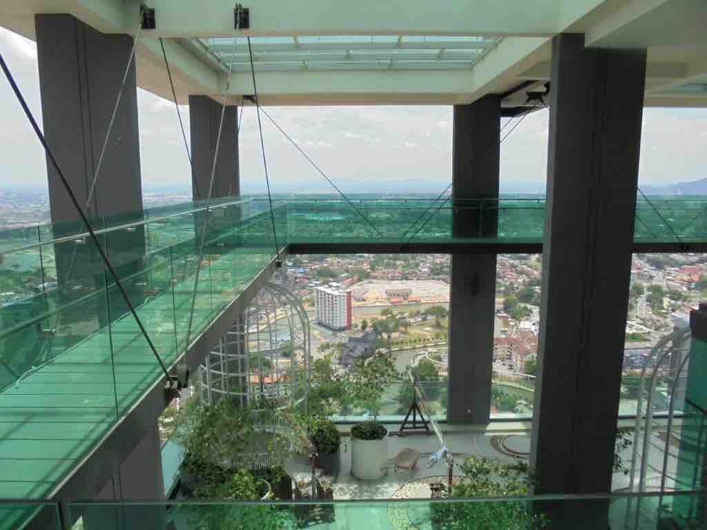Glass skywalk on 42 floor