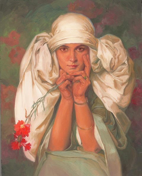 Jaroslava, based on Alphonse Mucha, 5x7, oil on panel.jpg