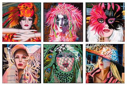"""Mardi Gras Maids, 12 x 12"""" each"""