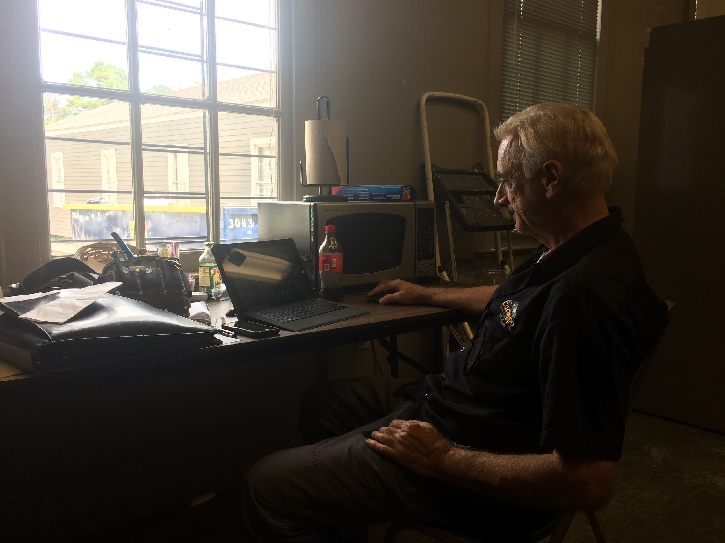 """contractor extraordinaire Steve in his """"office"""""""