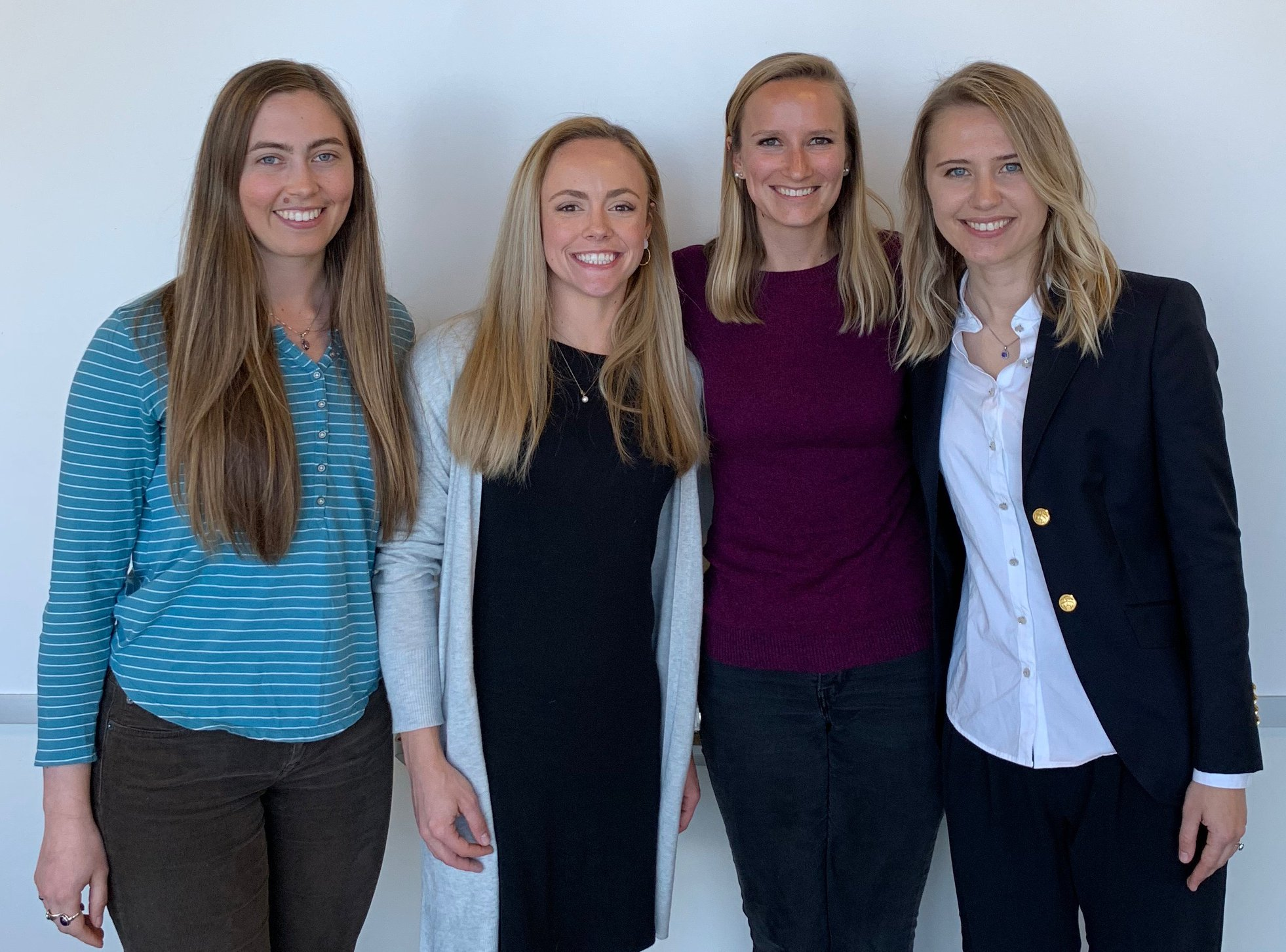 Four NSF Graduate Fellowship Awardees in the Butson lab. So proud of these students and their achievements!  L to R: Chantel Charlebois (Awarded 2019); Shana Black (Awarded 2018); Kara Johnson (Awarded 2018); and Daria Anderson (Awarded 2016).