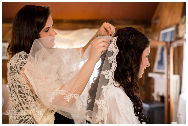 Ali's gorgeous vintage veil being pinned in by the talented, Kate Spencer, at Jack's Barn, Oxford, NJ in their gorgeous bridal suite.