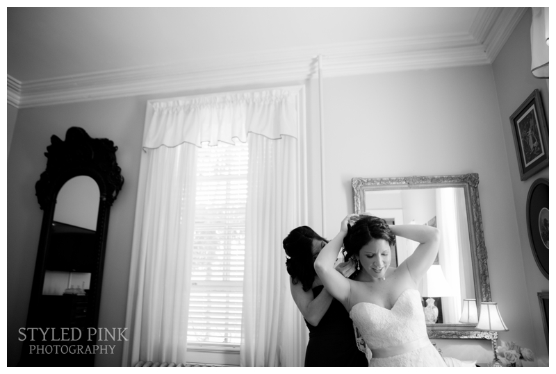 Ali gets ready at Twenty Belvidere before her ceremony at Jack's Barn in Oxford. NJ.
