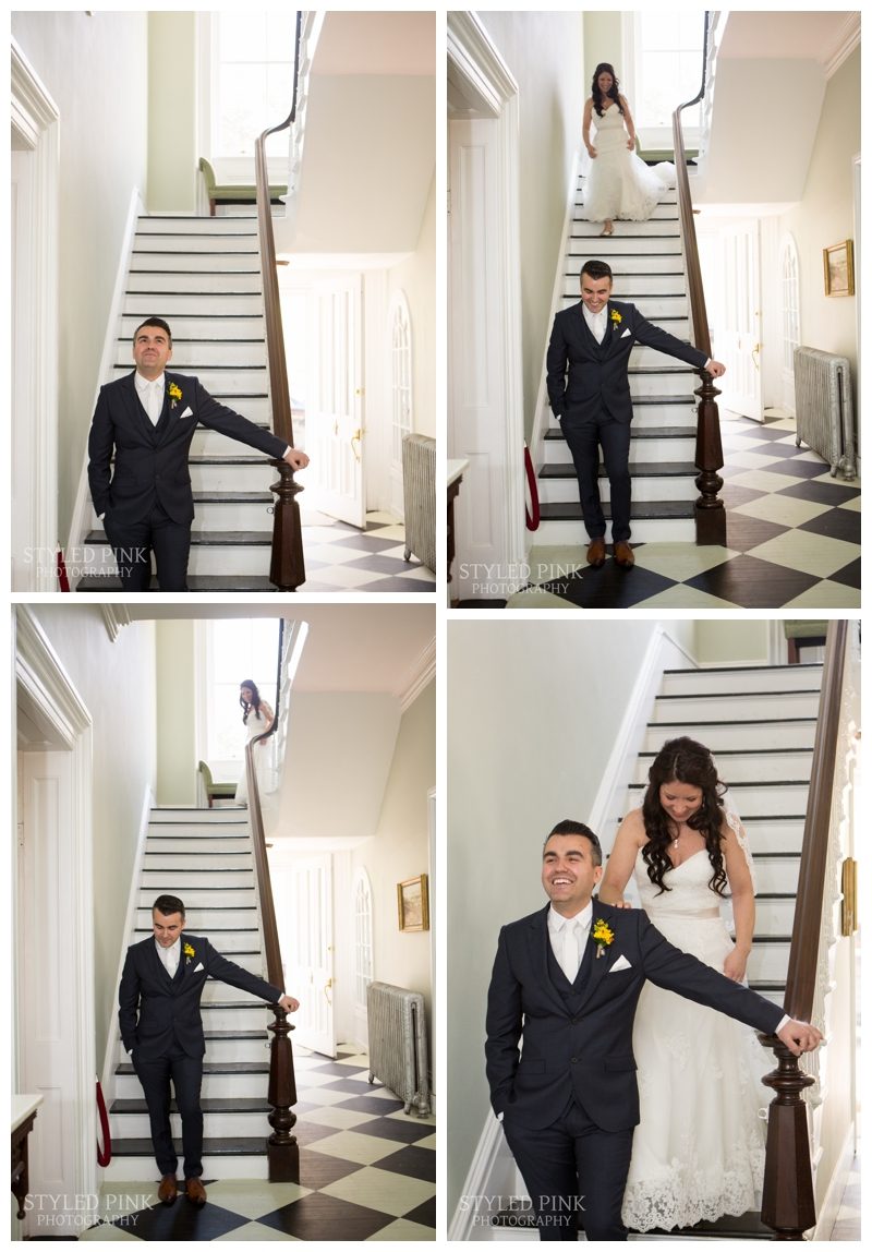 Ali, the bride, walks down the stairs, at Twenty Belvidere, for their First Look, before their wedding at Jack's Barn.
