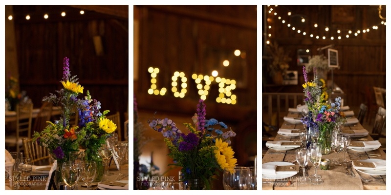 LOVE sign, gorgeous florals, string lights, oh my! Details of Ali and Nando's wedding at Jack's Barn in Oxford, NJ.