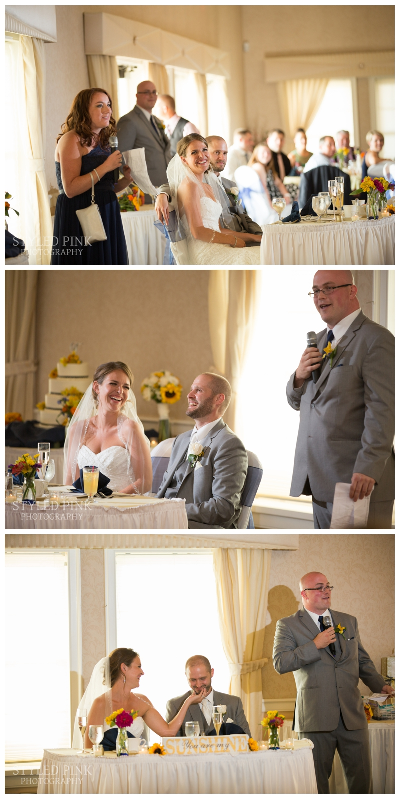 The maid of honor and best man make their speeches.
