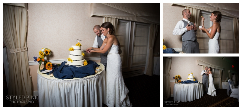 Paul and Katie cut their wedding cake from Gallo's Bakery. Then Katie lovingly feeds Paul a potato chip- he's not a sweets guy. I think the entire room was giggling.