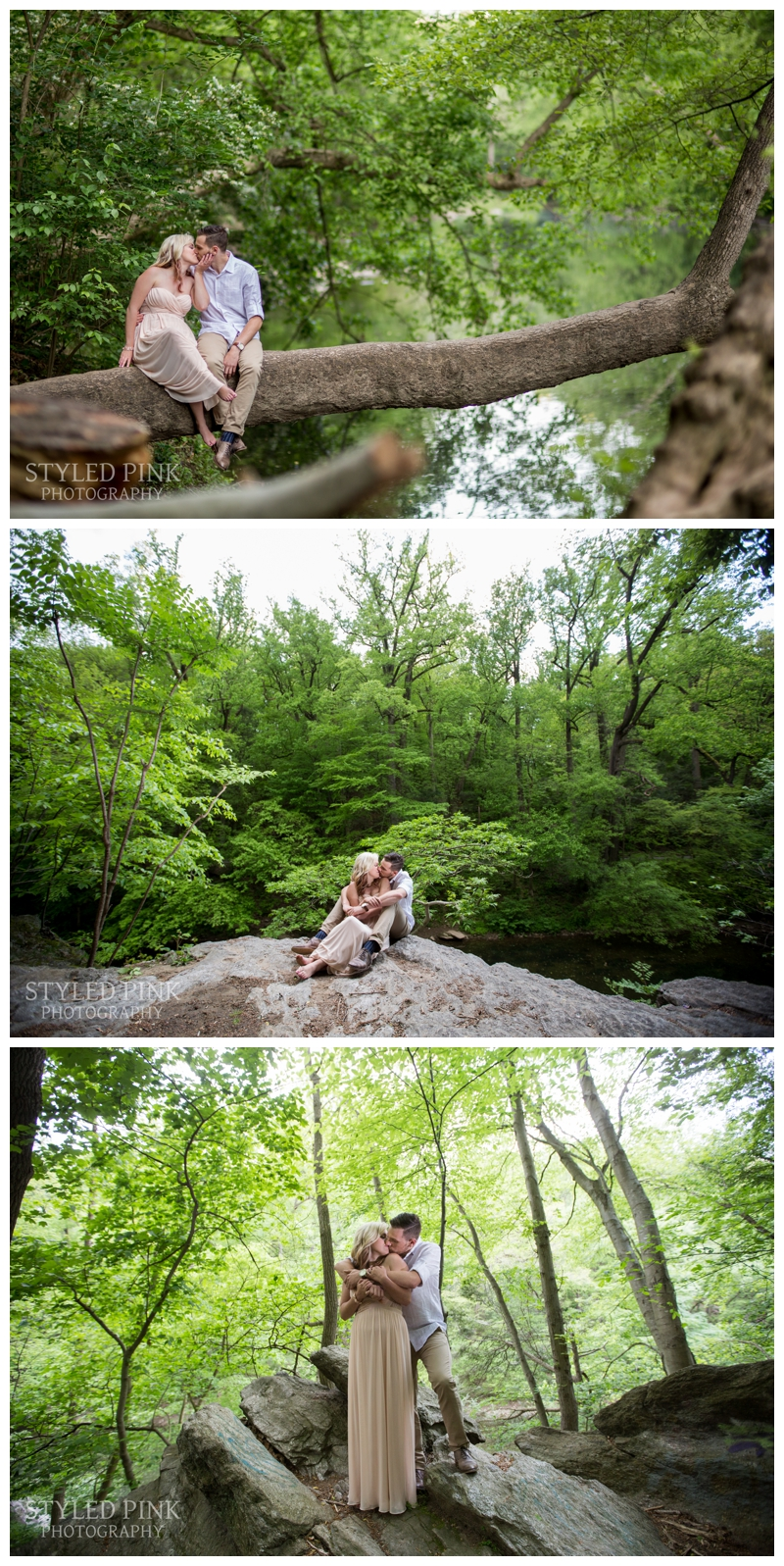 Deana was in HEELS- yes, heels at Wissahickon Trail. Climbing rocks, sitting on the edge of a steep hill, and also sitting on a fallen over tree that is literally just above the water. SO adventurous- I love it.