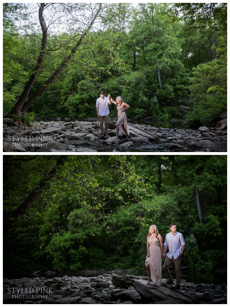 Zane was a perfect gentleman helping Deana navigate through the rocky stream by Devil's Pool in Wissahickon Creek.... and then he also helped me. Save the camera, let me fall in!