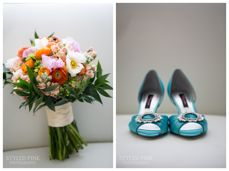 Brittany's lush bridal bouquet by Coventry Crossing Florist, and her BLUE shoes- so fun!