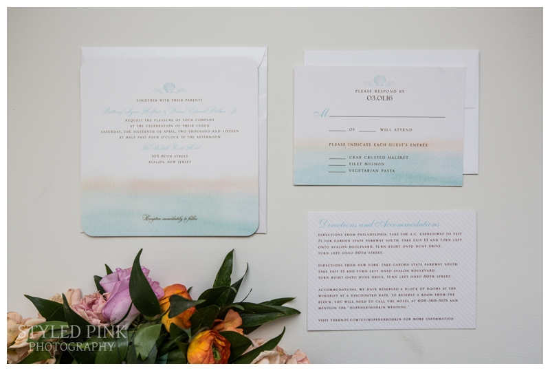 Gorgeous wedding invitations with aquamarine and tangerine- the perfect color for a beach wedding at the Windrift in Avalon.