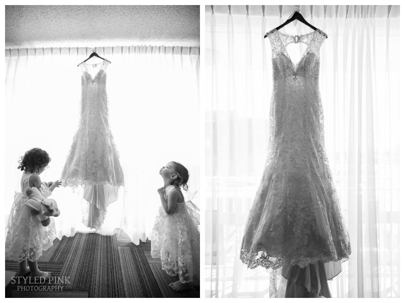 When flower girls head toward the wedding gown- you HAVE to document it.