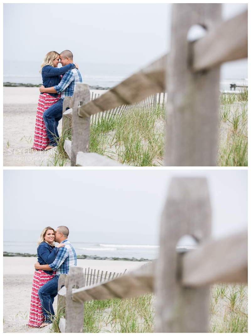 It was drizzling but we were able to on the beach and boardwalk to capture some great engagement photographs.