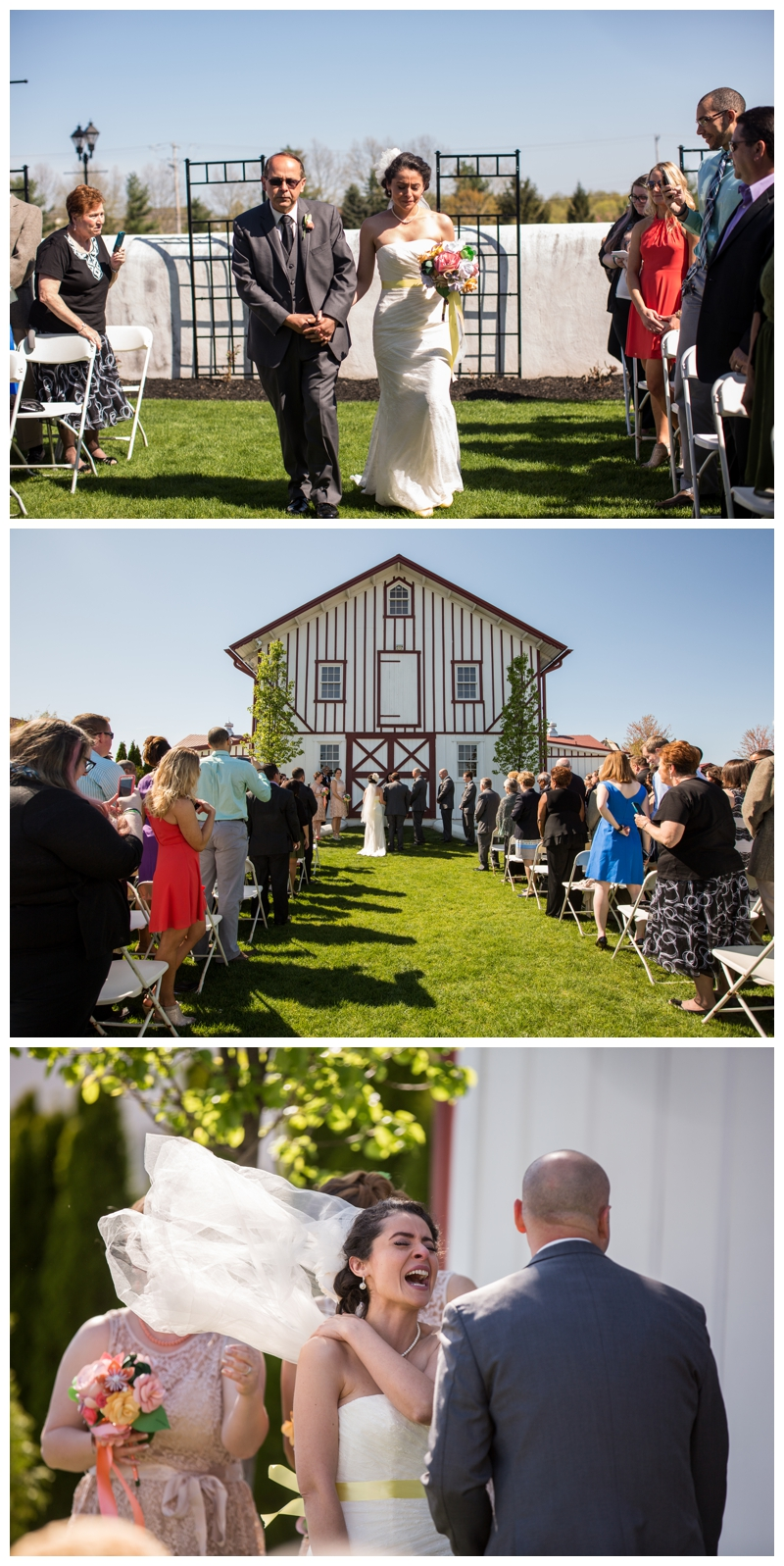 During the ceremony, everyone had teary eyes, until the wind came and took Marisa's veil straight into the air. All of our tears turned to a little giggle!