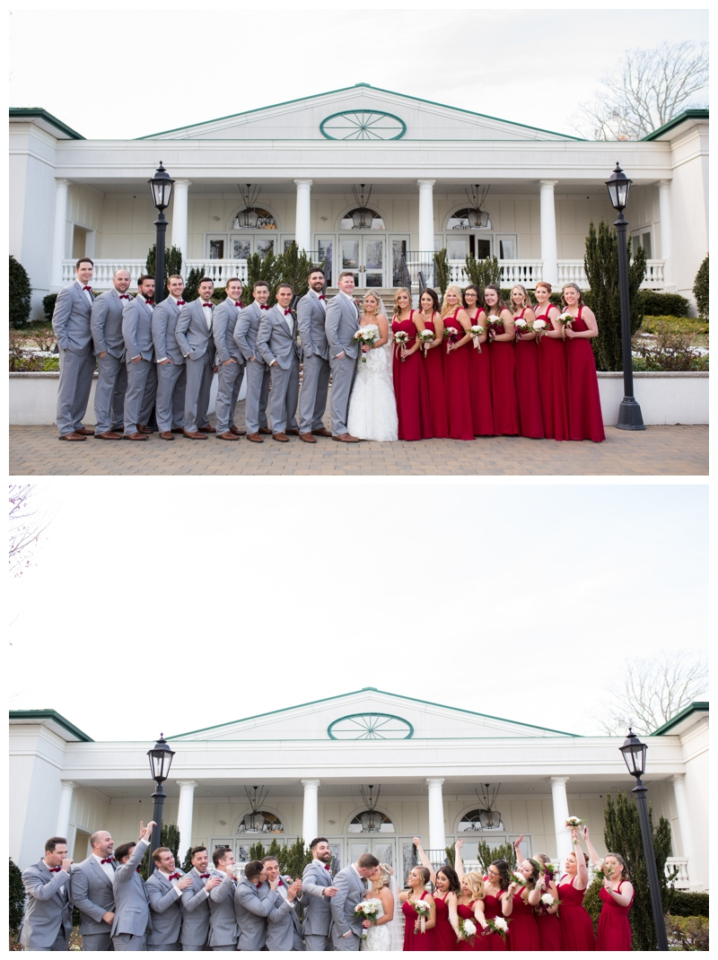Such a stunning bridal party rocking cranberry and gray.