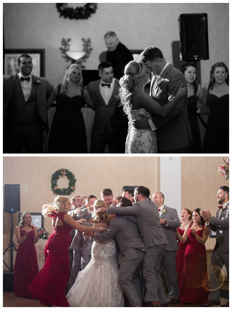 They shared their first dance and then the bridal party attacked them with a group hug.