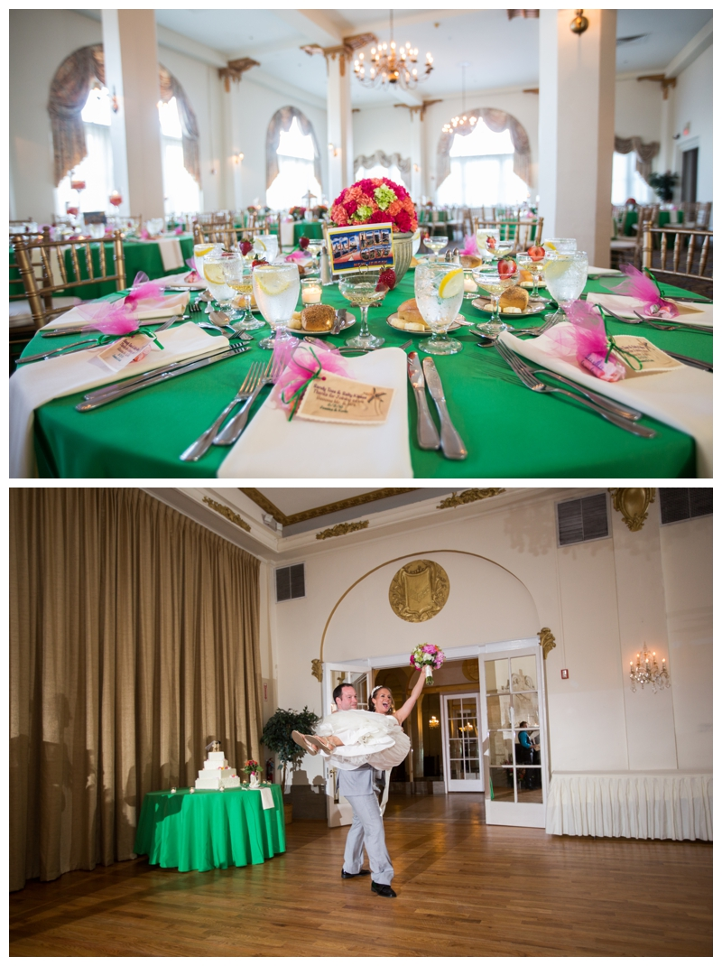 The kelly green linens complimented the tangerine and begonia bridesmaid dresses.
