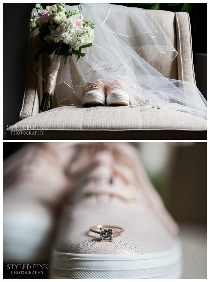 The bride wore adorable pink Keds that matched her rose gold engagement ring.