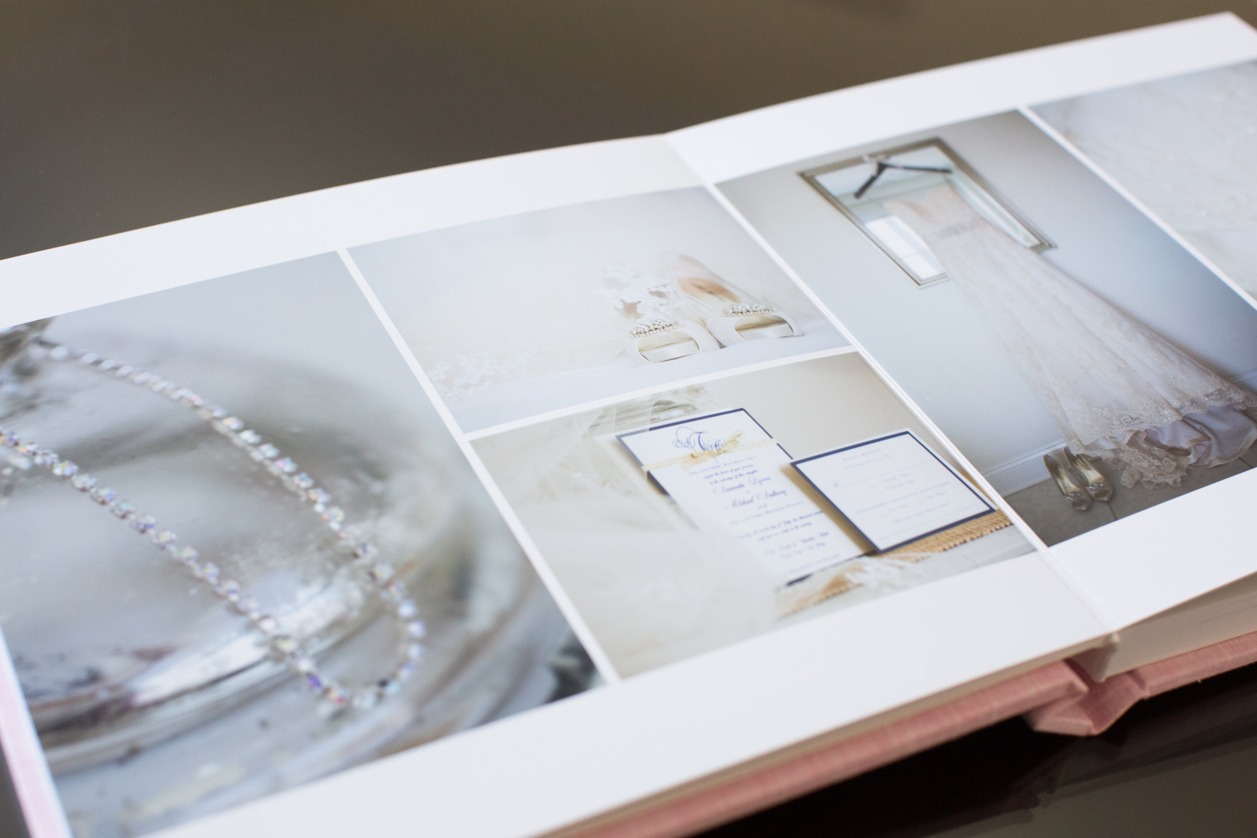 I love seeing what photographs my brides and grooms choose for their wedding albums. This was a sample album, and I was super excited to include all of the pretty little details!