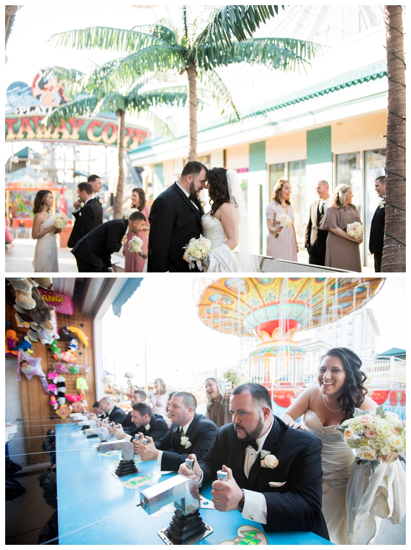 Playland's Castaway Cove in Ocean City made for the most colorful (and fun) backdrop for bridal party portraits!