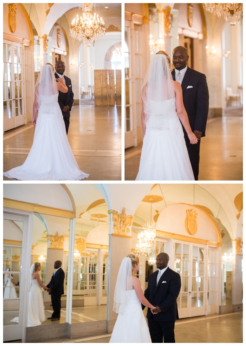 Samantha and Dorian and their First Look in the Hall of Mirrors and the Flanders Hotel in Ocean City, New Jersey. I love the elegance!