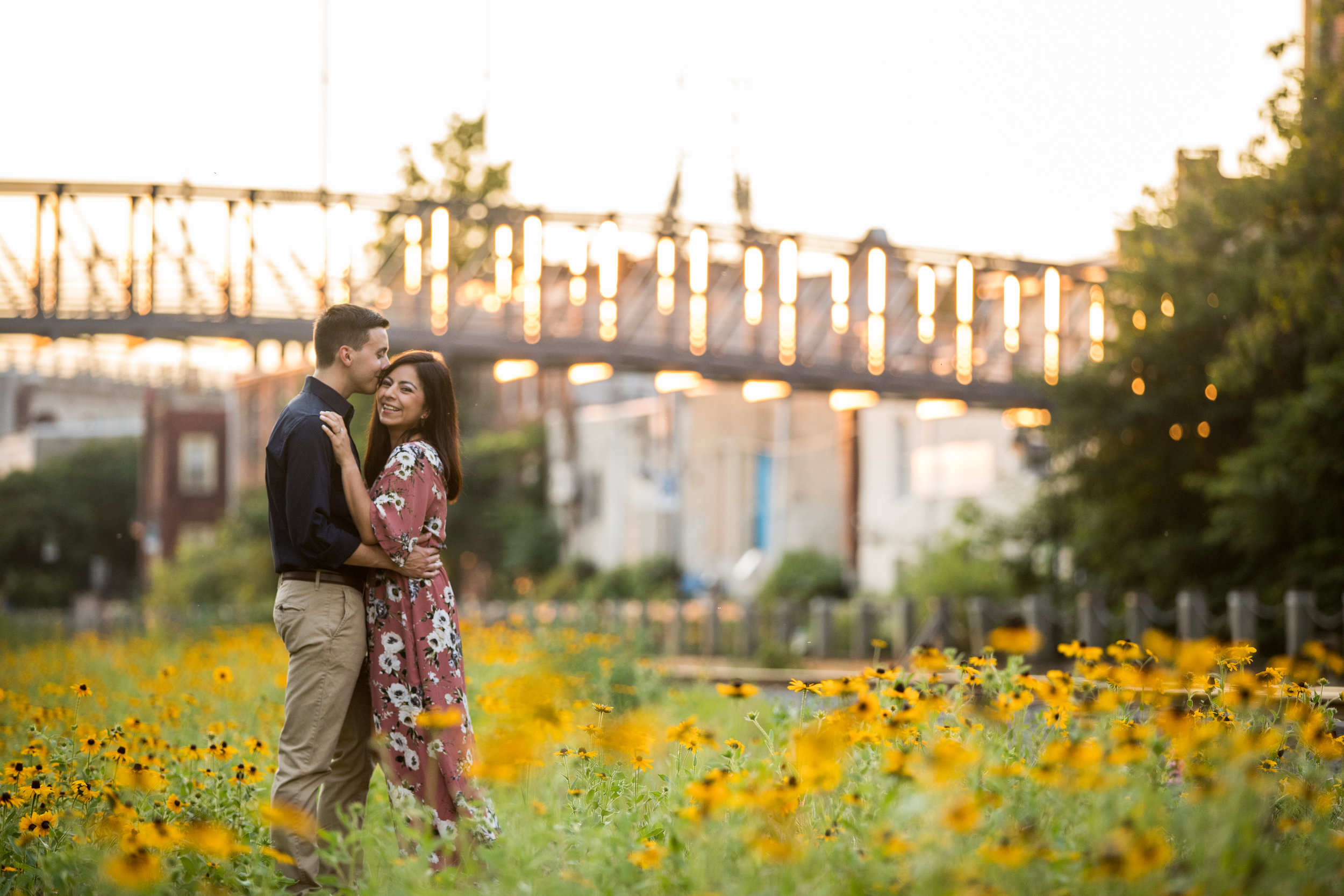 Paula and Frankie found a field of gorgeous sunflowers at their Manayunk engagement session.