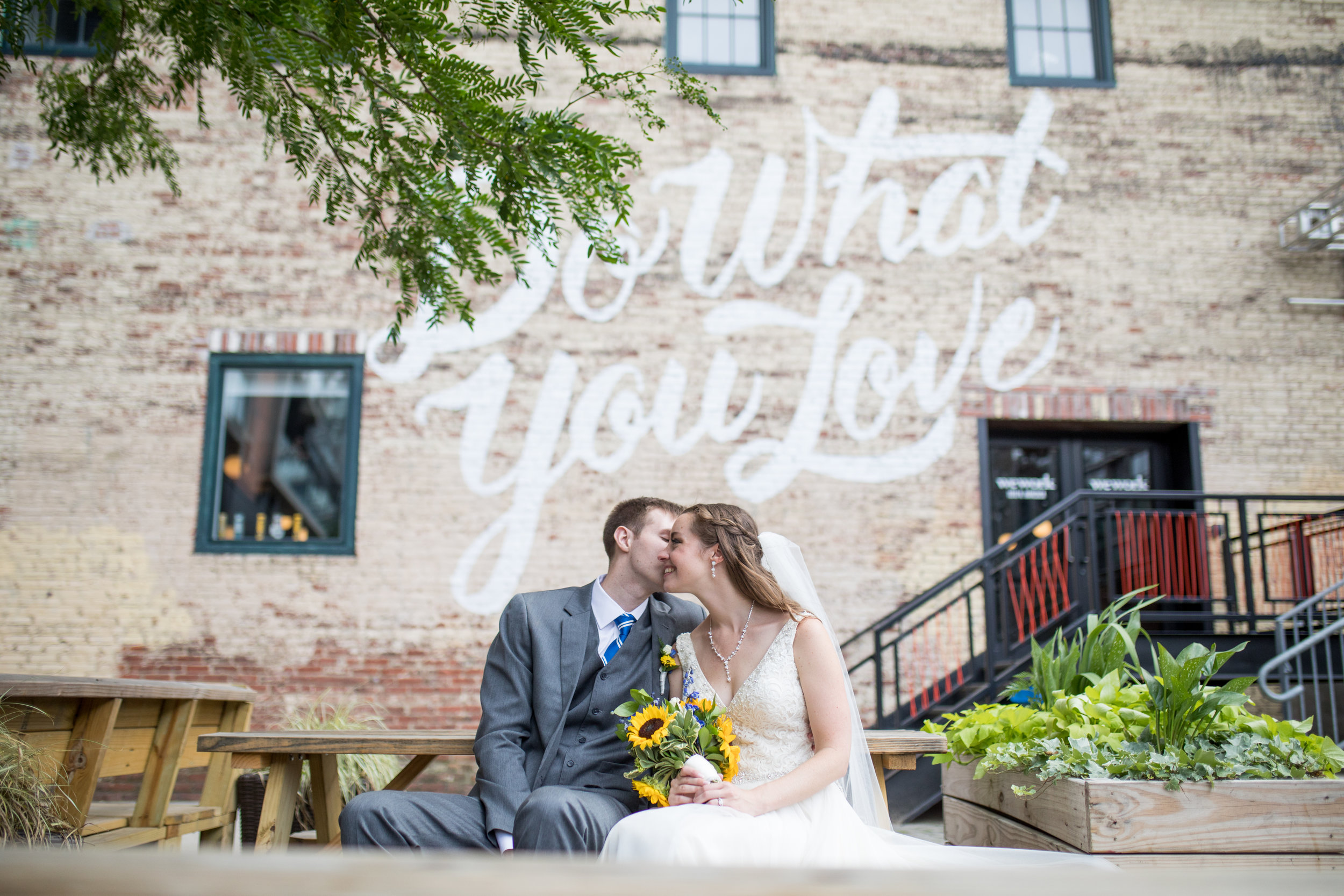 Clayton and Colleen cuddle up in the Piazza before heading into their wedding reception at Tendenza in Philadelphia.