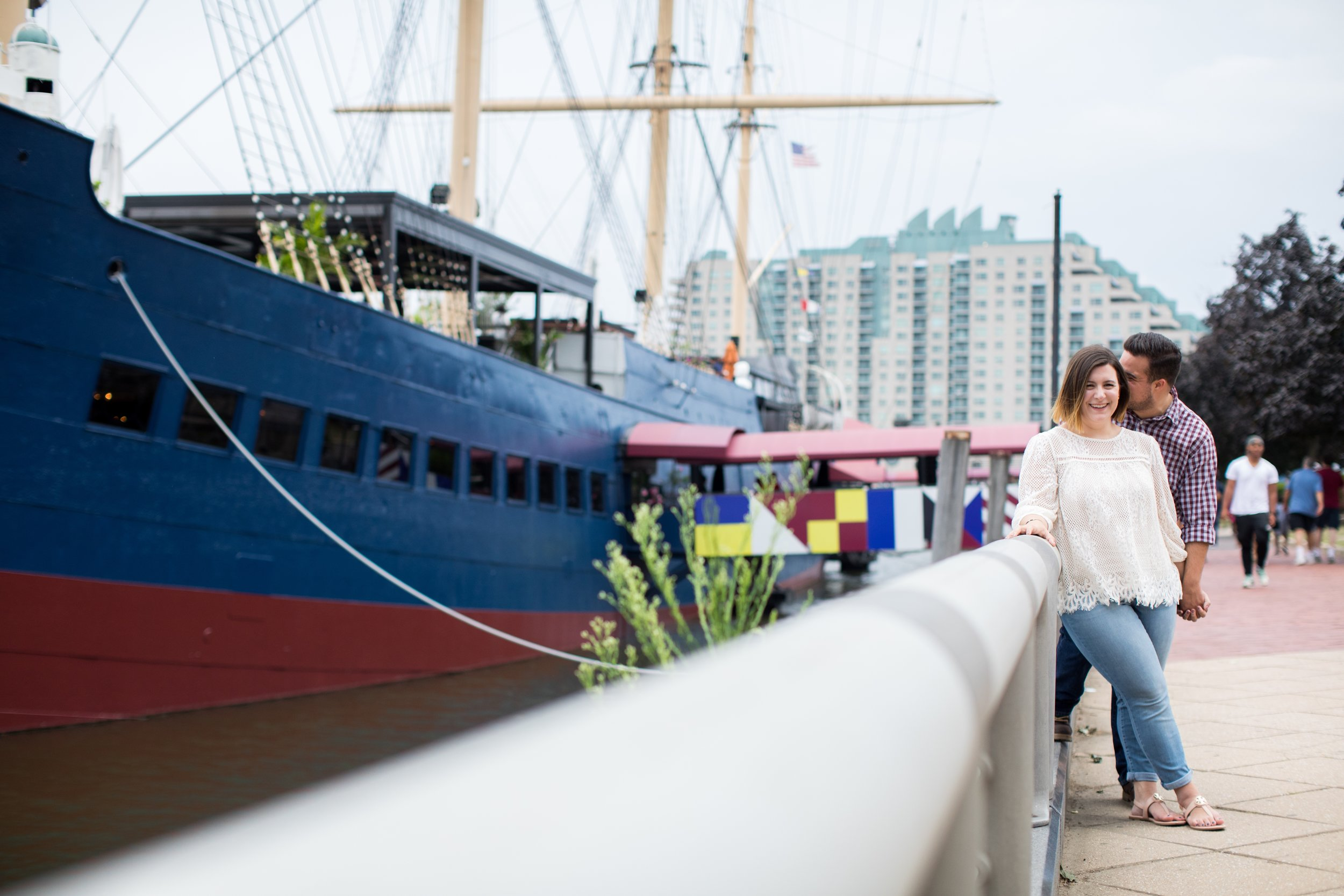 Jaclyn and Parker spend a summer evening at Spruce Street Harbor in Philadelphia.