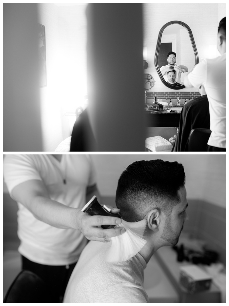 How about a fresh haircut on your wedding day?! I love that my second photographer, Danielle, got to capture this!
