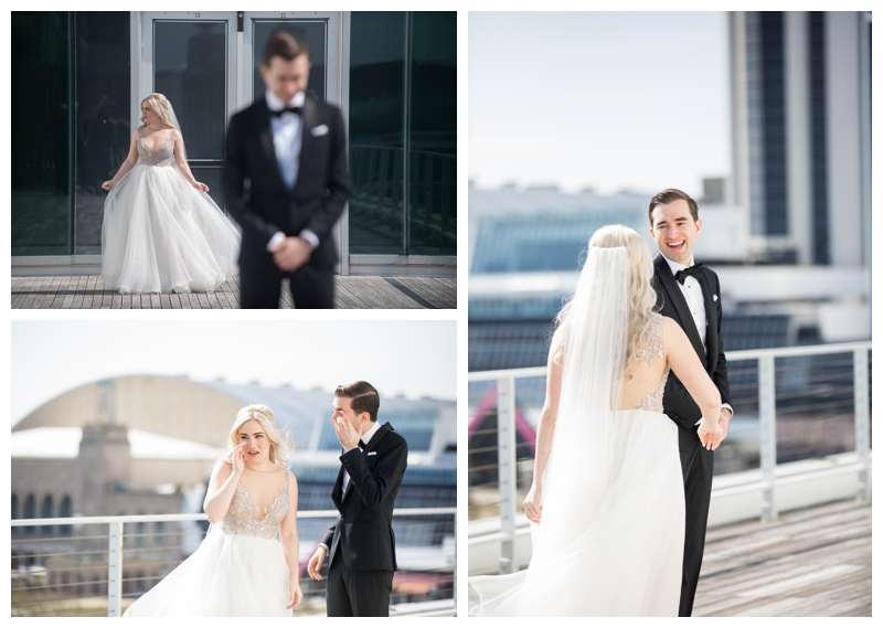 Brian and Kelly chose to do their first look on the deck at One Atlantic- such a perfect backdrop to see each other for the first time on their wedding day.