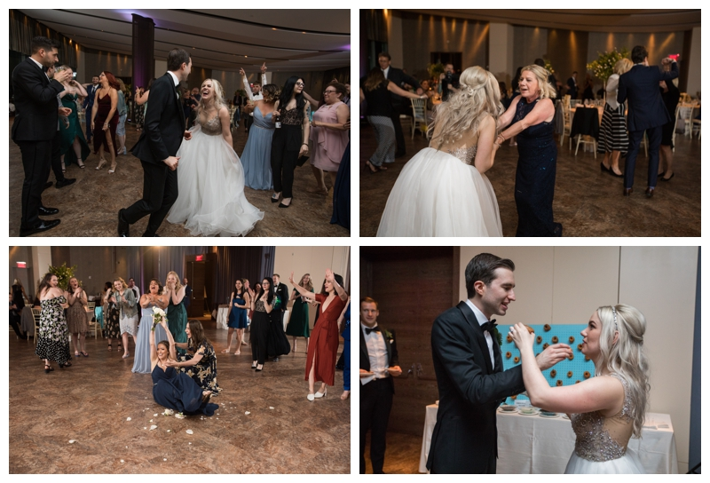 Dancing the night away and instead of cutting the cake… feeding each other doughnuts! Love it!