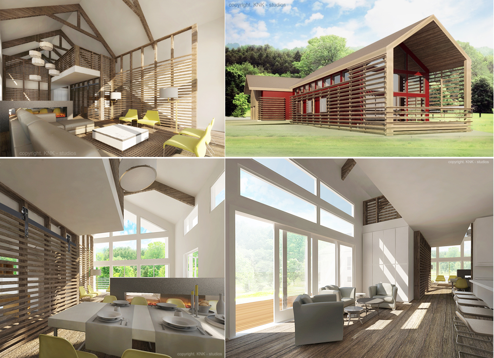 Inspired from the 19th-century barns, this house takes old-fashioned rural style into the 21st century.  Reclaimed materials, ecofriendly features and innovative design solutions will help the owners to cut down on costs while building their dream home.     The very idea of a barn brings to mind the image of a large family, with the house exposed heavy timber beams, a bright kitchen where a wonderful home-cooked meal is getting prepared, and all children were playing nearby.     Similar to the design of the barns, this modern home is all about simplicity, big shapes, light and textures. The inner skin of exterior is painted bright red and covered with weatherized wood slats which will filter the red color and light coming through. With big doors and screens that slide left and right, the Moon Barn welcomes the family home.