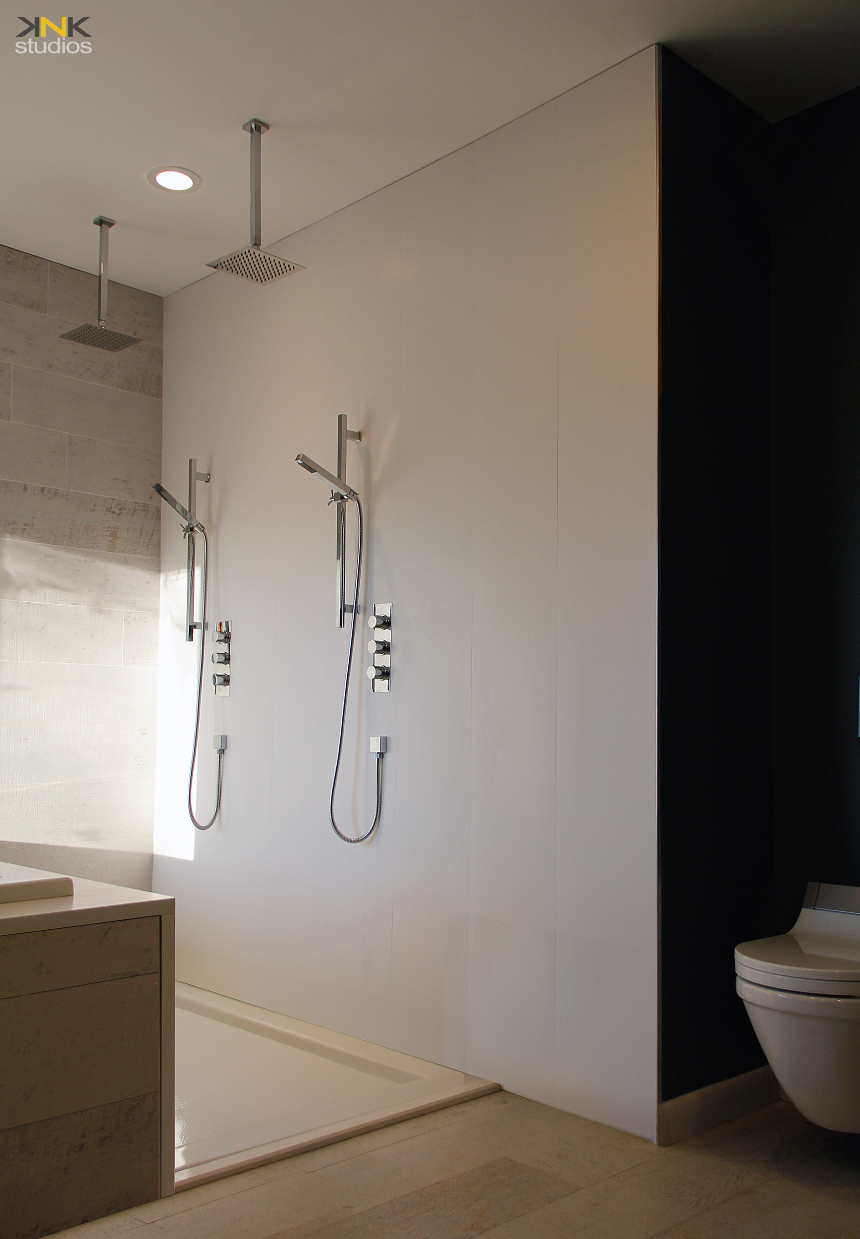 "Two people shower and wall mounted ""Duravit "" toilet and Washlet."
