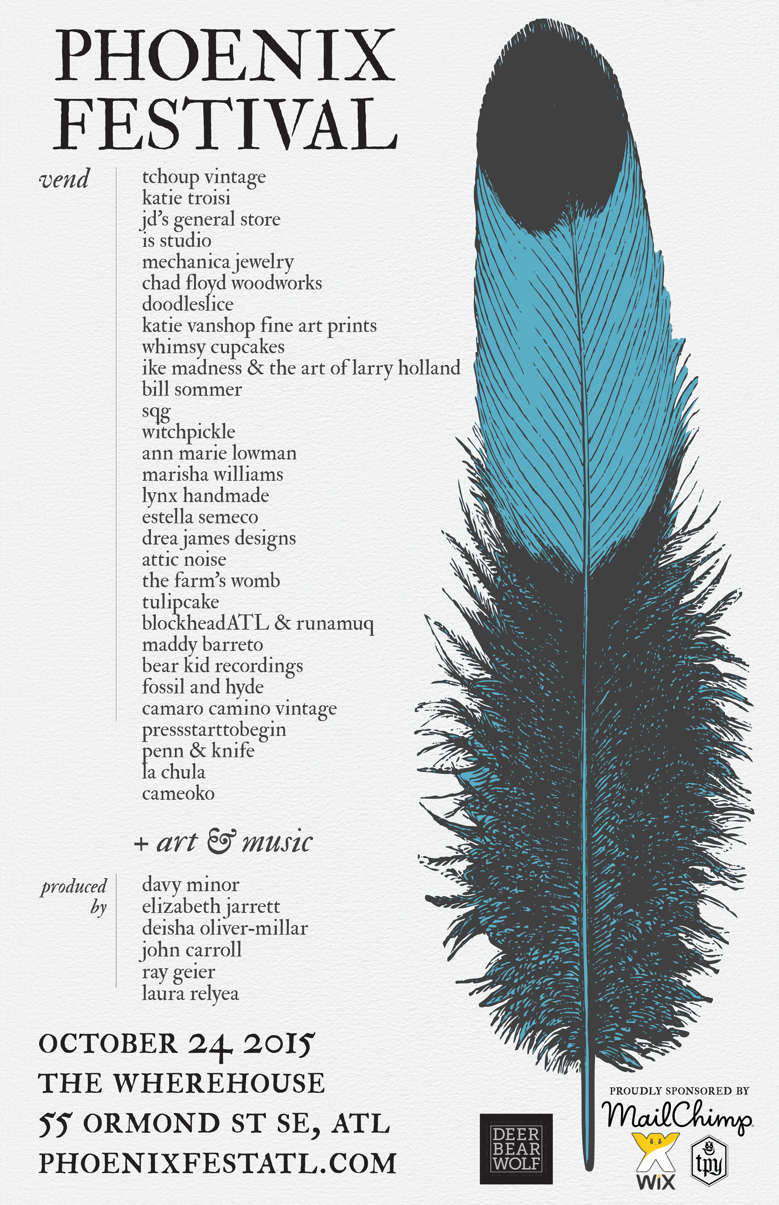 This Saturday, Deer Bear Wolf presents Phoenix Festival 2015, a day of art, music, and literature at the Wherehouse.