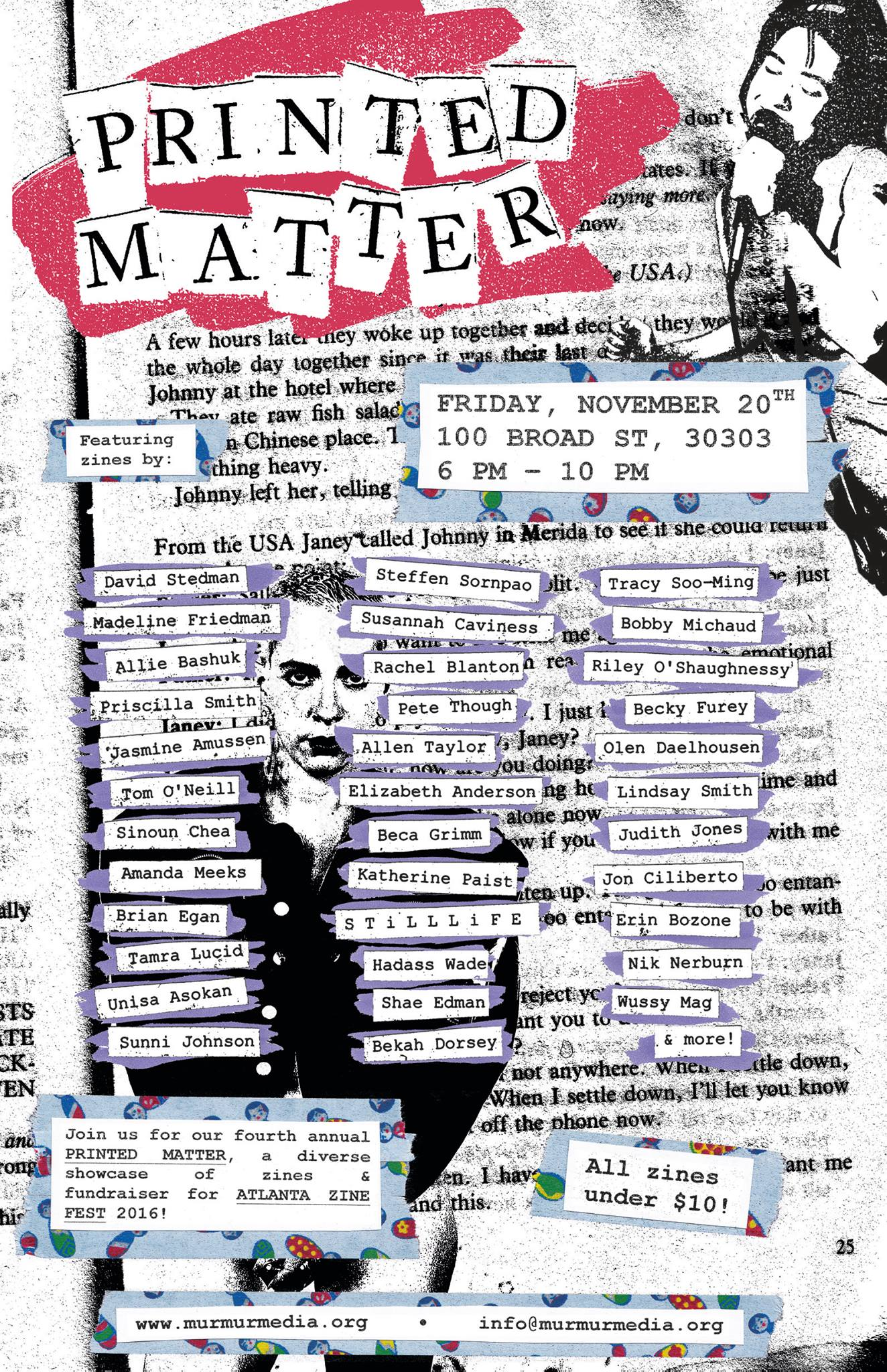 The fourth annual Printed Matter, a diverse showcase of zines and fundraiser for AZF 2016, is this Friday night at the new Murmur space.