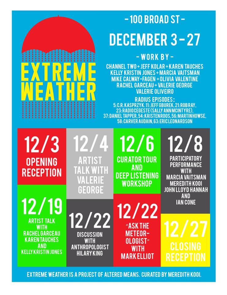 Altered Means' EXTREME WEATHER exhibition opens this Thursday night at Murmur.