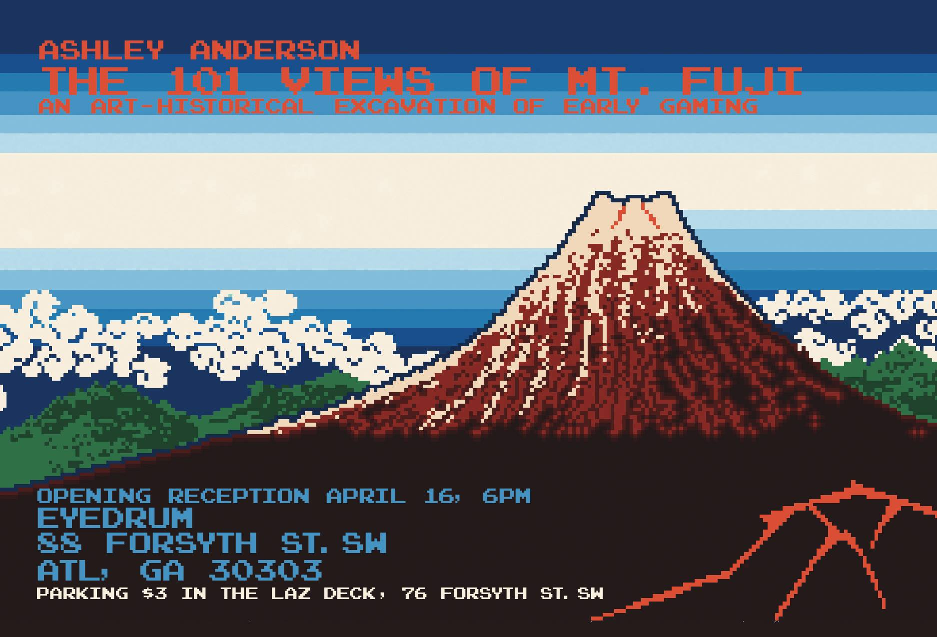 Ashley Anderson's solo exhibition documenting the representation of Mt. Fuji through the annals of video game culture opens this Saturday at Eyedrum.
