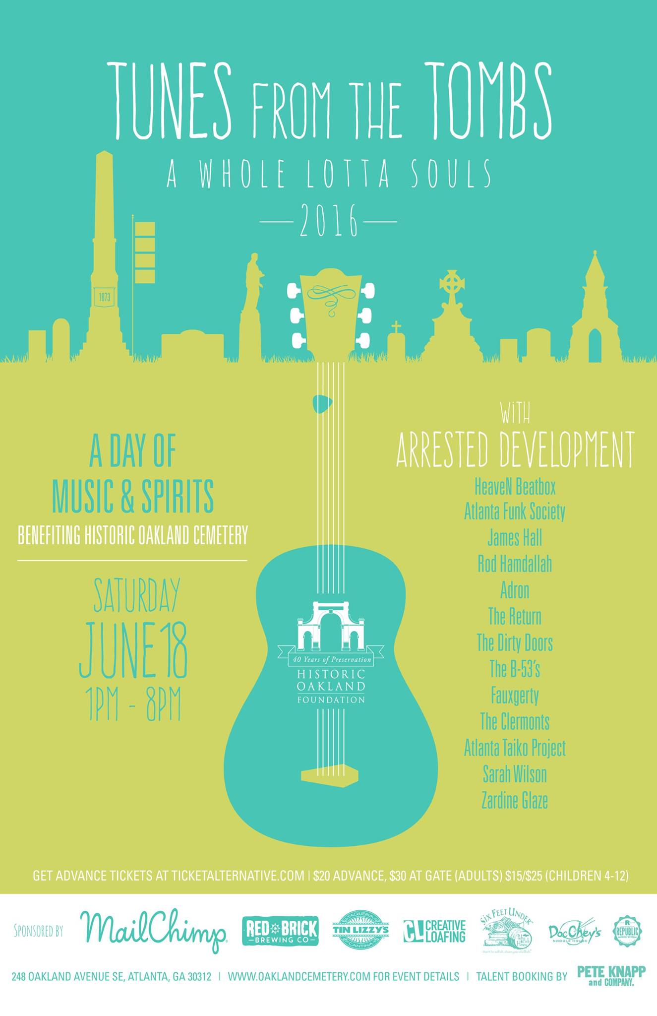 Tunes From The Tombs returns this Saturday to the Historic Oakland Cemetery.