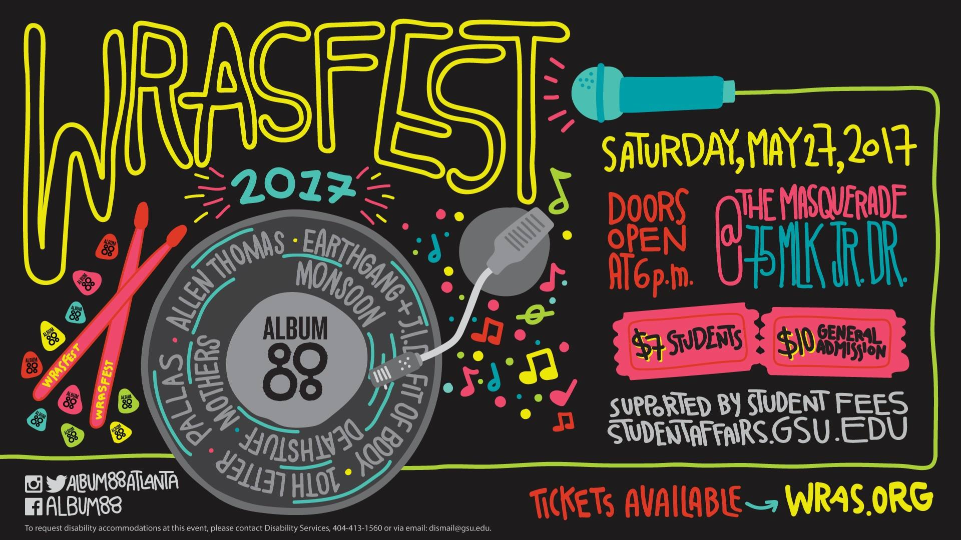 Georgia State University's 100,000 watt & 100% student run radio station is proud to announce another year of WRASFEST