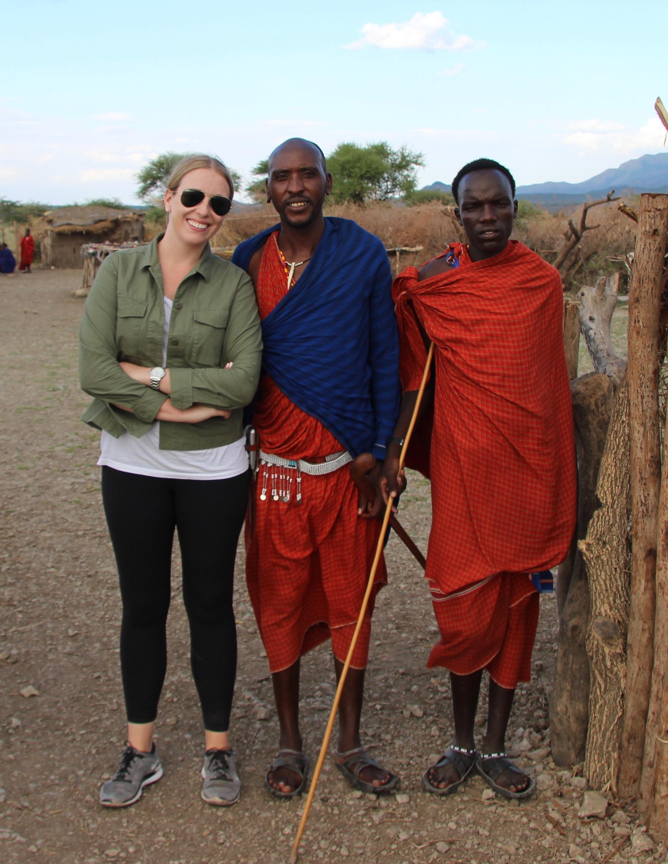 With Masai warriors in Tanzania.