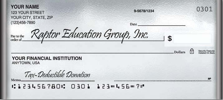 Raptor Education Group Inc accepts donations via personal check